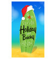 christmas poster surfboard vector image vector image