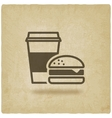 coffee and burger fast food old background vector image vector image