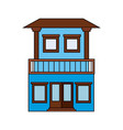 colorful silhouette of facade house with two vector image vector image