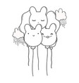 cute balloons with ears shaped black and white vector image