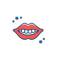 dental smile logo teeth whitening lips and teeth vector image vector image
