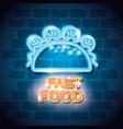 fast food burrito neon label vector image
