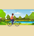 fat obese woman riding bike african american vector image