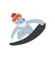 flat funny wolf character snowboarding vector image