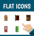 flat icon door set of approach wooden fence door vector image