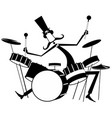 funny mustache drummer isolated vector image
