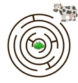 Game labyrinth find a way cow vector image vector image