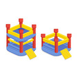 inflatable childrens castle with a trampoline set vector image vector image