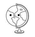 line kawaii nice global planet desk vector image