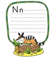Little numbat for ABC Alphabet N vector image