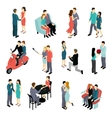 Loving Couples Isometric Set vector image vector image