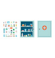 medicine chest full drugs tablets and bottles vector image vector image