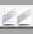minimalist cv resume and letterhead for creative vector image vector image
