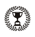 monochrome trophy cup between olive crown vector image vector image
