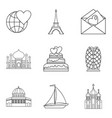 newlywed icons set outline style vector image