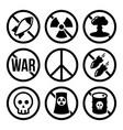 no nuclear weapon no war no bombs warning vector image