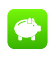piggy bank icon digital green vector image