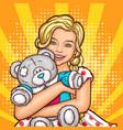 pop art smiling little girl hugging her vector image vector image