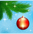red christmas ball on spruce branches vector image vector image