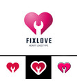 repair or fix love heart logo design element vector image