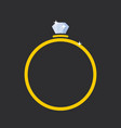 ring with a diamond flat style vector image vector image
