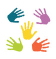set colorful hand prints isolated on white vector image