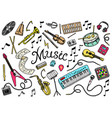 set of musical symbols and icons guitar drums vector image