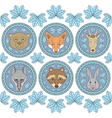 set six labels with muzzles animals vector image