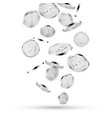 silver coins falling on white 3d silver money vector image vector image