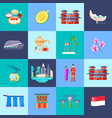 singapore culture flat icon set vector image vector image