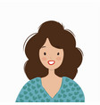 smiling woman in a blue sweater vector image vector image