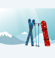 snowboard and ski in the ski mountain resort vector image vector image