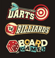 social leisure games logos and design elements vector image