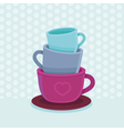 stack of coffee mugs and cups vector image vector image