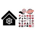 Steering Wheel House Flat Icon with Bonus vector image vector image