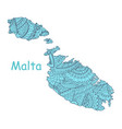 textured map of malta hand drawn ethno vector image vector image