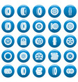 tire icons set blue simple style vector image vector image