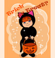 trick or treat card vector image vector image