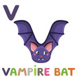 v is for vampire bat letter v vampire bat cute vector image vector image