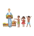 Volunteer Bringing The Food To Hungry Children vector image vector image