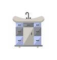 wash basin with drawers icon in flat style vector image