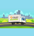 white delivery car ride road on cityscape vector image vector image