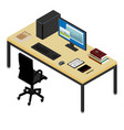 working place desk and armchair computer laptop vector image vector image
