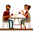 Young couple in a cafe vector image vector image