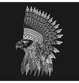 Zentangle stylized head of eagle in feathered war vector image vector image