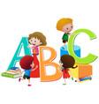 children with english alphabets blocks vector image