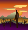 Desert wild nature landscapes with cactus vector image