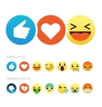 Set of cute smiley emoticons flat design vector image