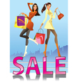 Fashion girls in sale campaign vector image