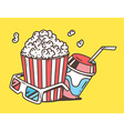 linear of pop corn with juice and anaglyph vector image